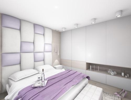 Liliowa sypialnia